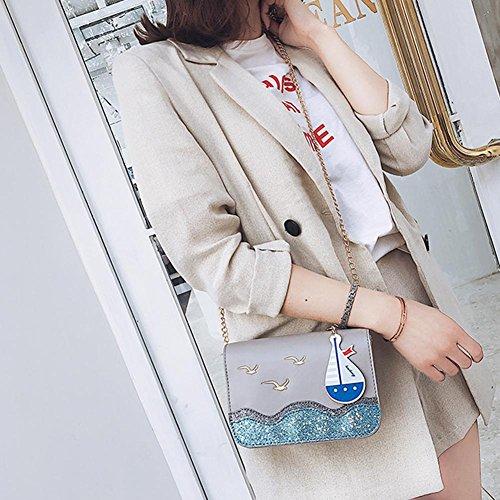 Ship Chain Messenger PU Leather Shoulder Women Sailing Domybest Handbag Bag Creative Grey qxfwUF4pnS