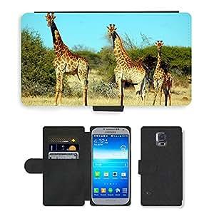 CARD POCKET BOOK CASE PU LEATHER CASE // M00147023 Jirafa Animal Safari Vida Silvestre // Samsung Galaxy S5 S V SV i9600 (Not Fits S5 ACTIVE)