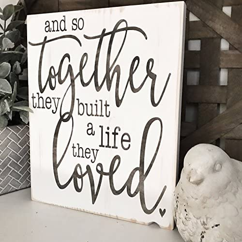 Amazon Com And So Together They Built A Life They Loved Rustic Wood Sign Home Kitchen