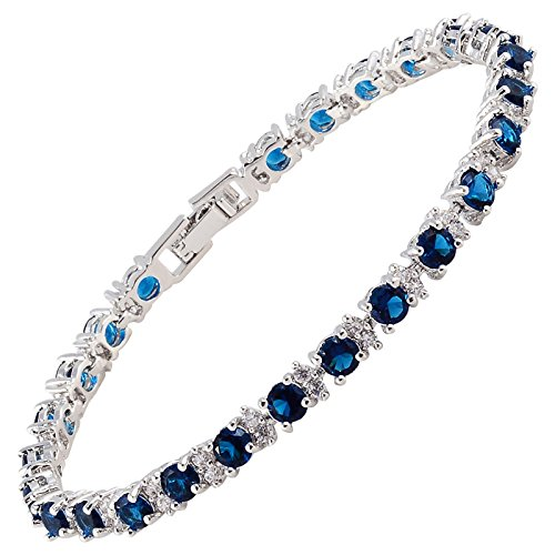 RIZILIA Round Simulated Blue Sapphire and White Cubic Zirconia 18K White gold Plated Tennis Bracelet, 7""