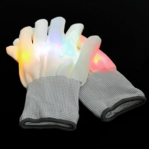 Multi-Color Electro LED Flashing Glove Light Up Halloween Dance Rave Party, Concerts,Hip-hop,Six Flicker Mode Switch Keys ,Tuscom (Multicolor)
