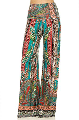 ICONOFLASH Women's Wide Leg Palazzo Pants with Foldover Waist (Paisley Floral, Small)