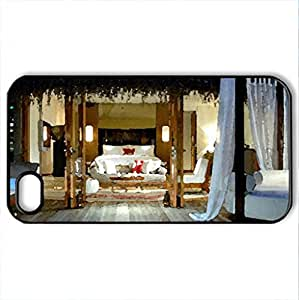 Villa - Case Cover for iPhone 4 and 4s (Houses Series, Watercolor style, Black)