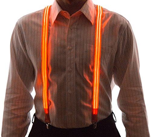 Mens Halloween Suits (Neon Nightlife Men's Light Up LED Suspenders, Stripe, Extra Bright, One Size, Orange)