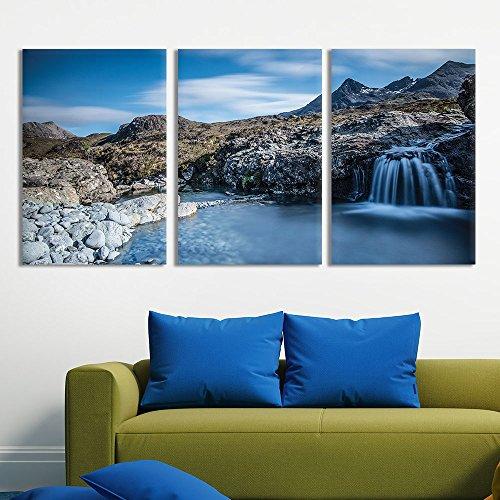 3 Panel Landscape Cascading Waterfall in Rocky Mountain x 3 Panels