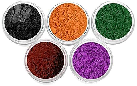 Mineral Makeup Soap Dye Colorant Cosmetic Grade Matte Oxide Powder Set Each Color Is Packed In 3 Gram Size Jar Myo 5 Piece Set. Set # - Orange Candle Dye