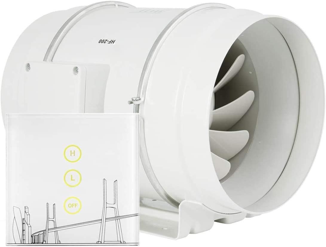 HG Power Ventilador de tuberías 200 mm, Ventilador Extractor con regulador de velocidad, bajo consumo, silencioso, para cocinas, baños, garajes