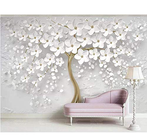 Hyf Wallpaper Wallpaper Beautiful Wedding Room White Flowers 3D Embossed Tv Background Wall Home Decoration 3D Wallpaper,320240Cm