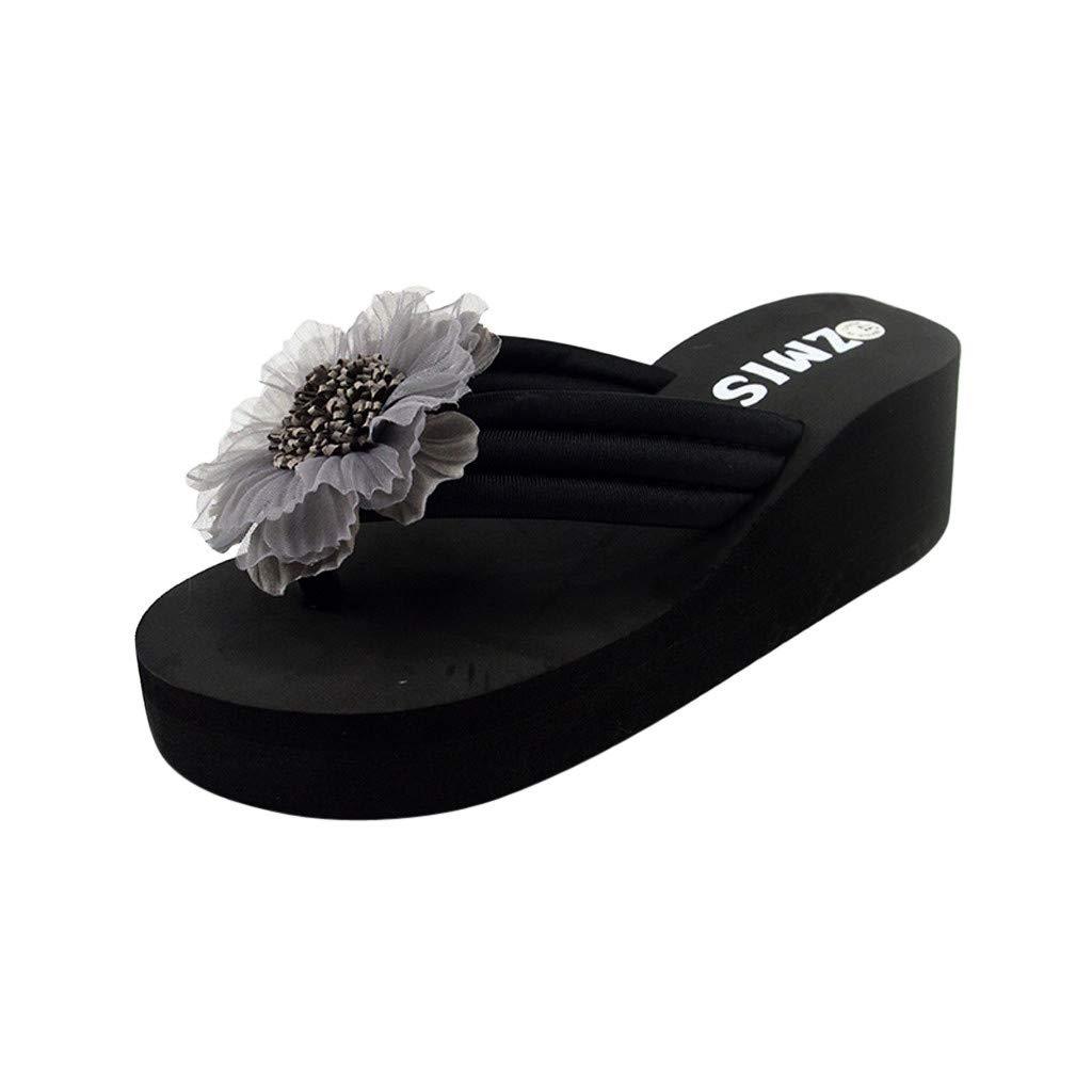 VonVonCo Women's Ladies Summer Flower Home Wedges Beach Shoes Sandals Flip Flops Slippers Gray