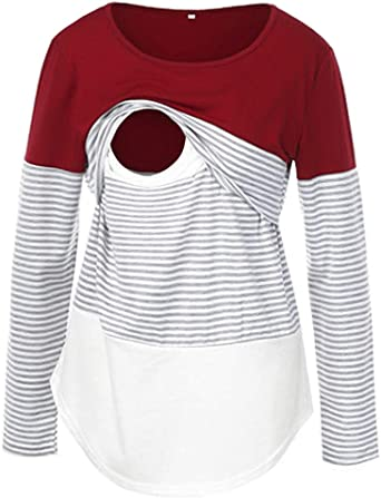KOJOOIN Women/'s Nursing Top Long Sleeve Maternity T-Shirt for Breastfeeding with Layered Design