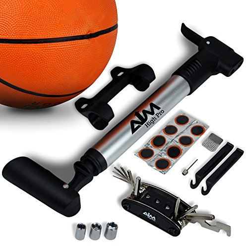 High Pressure Mini Pump And Much More Fits Presta & Schrader valve Inflates MTB/ Road /City Bike, Ball and Stroller. Frame Mount, Full Set: Multi tool, Puncture Repair Kit, Ball - Cycling Kits Womens