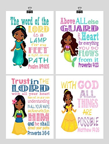 African American Princess Set of 4 - Christian Nursery Decor Wall Art Print - Ariel, Jasmine, Belle, Mulan - Bible Verse - Multiple Sizes