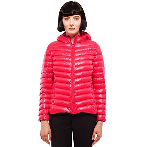 Rokka&Rolla Women's Ultra Lightweight Hooded Packable Puffer Down Jacket (XL, Poppy Red)