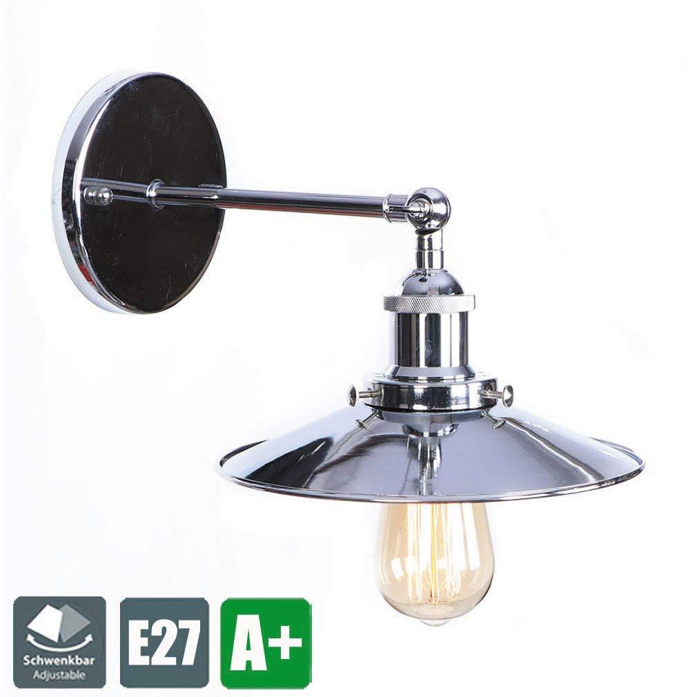 Modern Wandlampe Deckenlampe, Einstellbar Abstrahlwinkels Wandleuchte Deckenleuchte, Chrom Design Leuchte, Minimalistischen Innen Dekoration Beleuchtung Metall Schirm E27 Glühbirne 1 Flammig MAX 40W