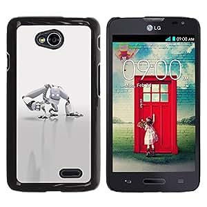 TECHCASE**Cubierta de la caja de protección la piel dura para el ** LG Optimus L70 / LS620 / D325 / MS323 ** White Robot