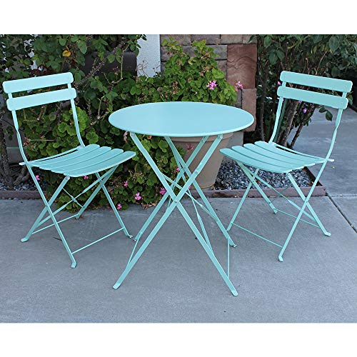 OC Orange-Casual Premium Steel Patio Bistro Set, Folding Outdoor Furniture Sets, 3 Piece Set of Foldable Chairs and Table, Turquoise