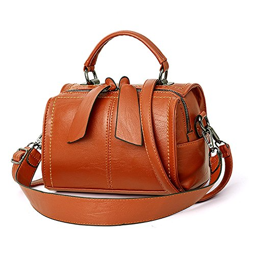 (Mn&Sue Women Small Boston Bag PU Leather Handbag Top Handle Barrel Design Satchel Crossbody Lady Purse (Orange))