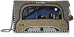 Beaded-Embroidered Taxi Cab Crossbody Clutch