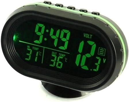 Relangce Auto Uhr Thermometer Voltmeter Multifunktion Kfz Spannungs Anzeige Temperatur Messgerät Zigarettenanzünder Batterie Tester Led Digital Leuchtende Uhr Hintergrundbeleuchtung 12v Grün Auto