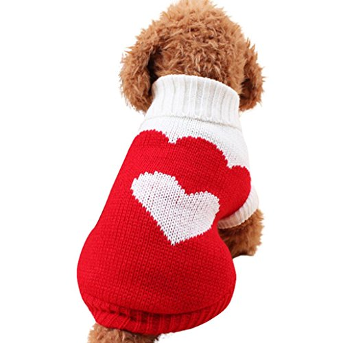 Howstar Puppy Winter Sweater, Woolen High Collar Warm Doggie Clothing Apparels Sweet Knitted Pet Top (Red, S)