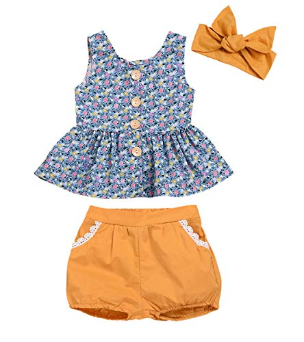 Kids Toddler Baby Girls Shorts Outfits Set Floral Print Ruffle Dress Shirt Tops+Short Pants Summer Dresses 3Pc Clothes Set (Blue+Yellow, 6-12 Months)