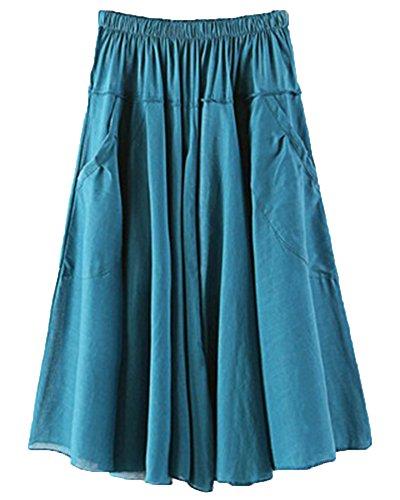 ZhuiKunA Jupe Parapluie Femme Et Bureaux Couleur Pure Plisse Poches Grand Pendule Lac Vert 2