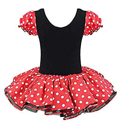 ACSUSS Kids Girl Cartoon Cosplay Costumes Short Bubble Polka Dot Tutu Dress with Ear Headband Outfit: Clothing