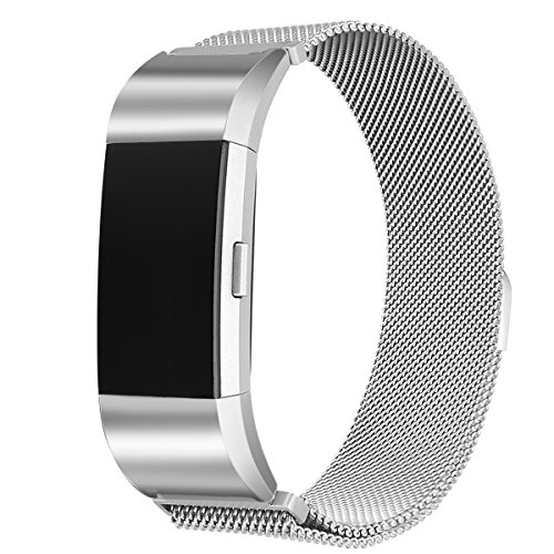 bayite For Fitbit Charge 2 Bands Metal Stainless Steel Milanese Loop Replacement Accessories Bracelet Strap with Unique Magnet Lock, Silver Large
