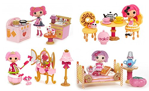 Complete Set of 4 Mini Lalaloopsy Playsets: Jewel's Primpin Party, Crumbs' Tea Party, Pillow's Sleepover Party, Berry's Kitchen