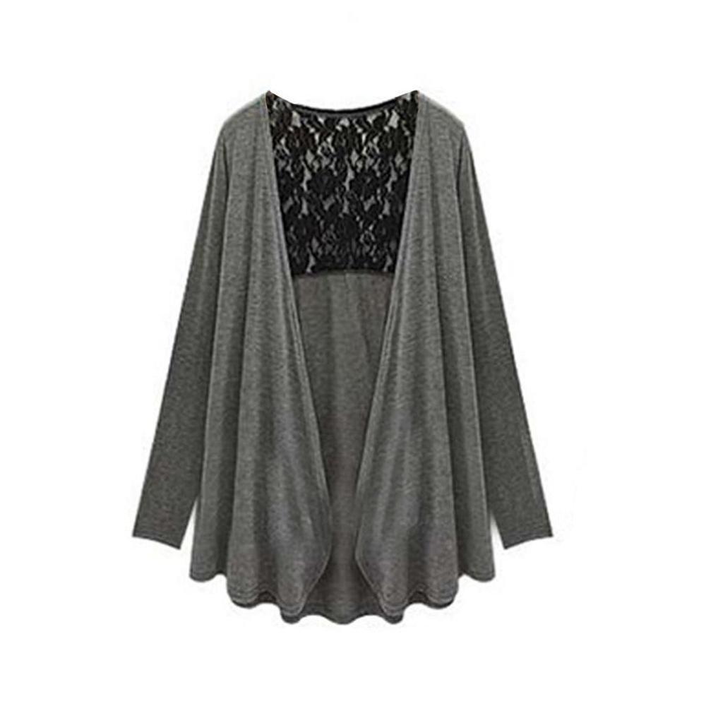 Doinshop Womens Casual Long Sleeve Lace Back Cardigan Autumn Coat Plus Size