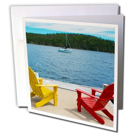- 3dRose Danita Delimont - Bar Harbor - Bar Harbor, Maine, Adirondack chairs on dock with relaxing view - 12 Greeting Cards with envelopes (gc_251064_2)