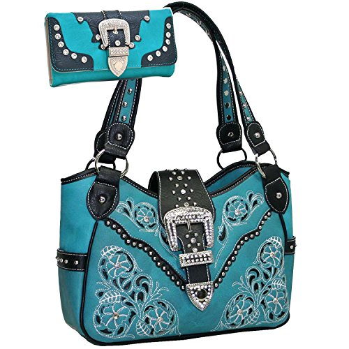 Western Rhinestone Studs Buckle Floral Embroidered Handbag Purse With Matching Wallet -Turquoise