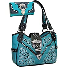 Western Rhinestone Studs Handbag Purse With Matching Wallet