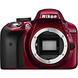 NIKON D3300 DSLR Digital Body DX-Series 24.2MP SLR Camera with 3.0-Inch TFT LCD, Body Only (Red)
