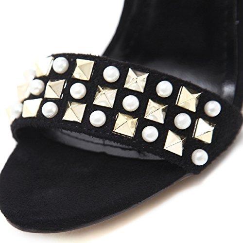 Toe Primavera ZHZNVX El 39 Shoes Verano Nuevo y Remache de Rocío Alto los Moda con Beige Delgadas Zapatos Alto Heel Sandalias Tacón rvq8rdw