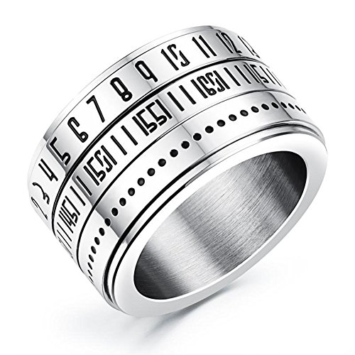 JAJAFOOK Mens Arabic Numerals Spinner/Rotate Rings Band Stainless Steel Finger Ring14MM Wide