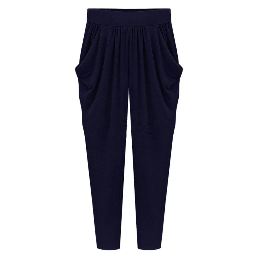AMA(TM) Women Elastic High Waist Long Pants Loose Harem Pants Trousers Plus Size (M, Navy)