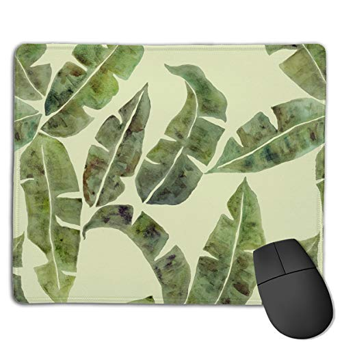 Mouse Pad Tropical Plant Banana Tree Leaves Rectangle Rubber Mousepad 8.66 X 7.09 Inch Gaming Mouse Pad with Black Lock Edge