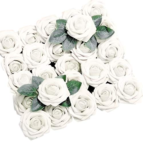 AIUSD Artificial Flowers Coral Roses 50pcs Real Looking Fake Roses for DIY Wedding Bouquets Centerpieces