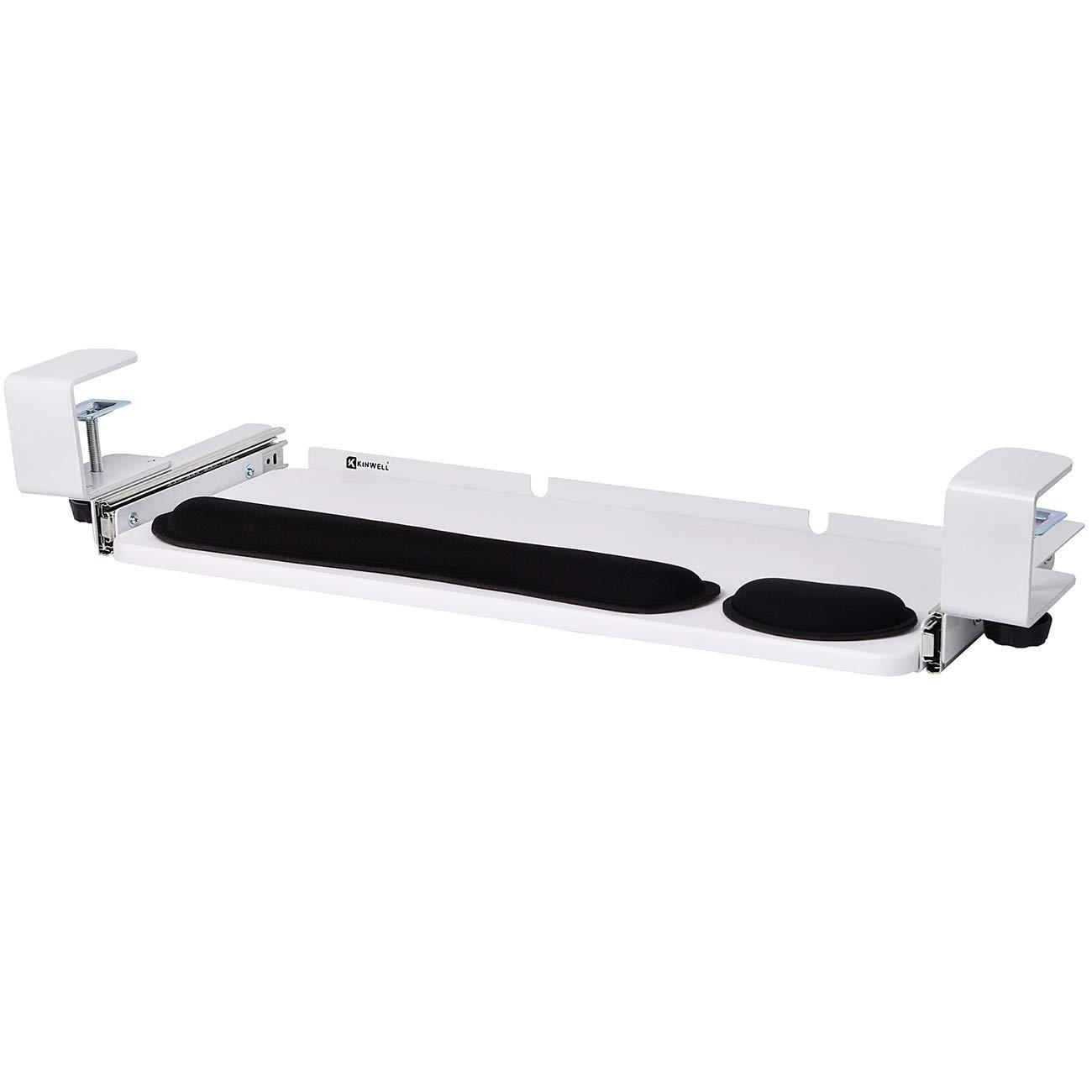 Kinwell Ergonomics Under Table Keyboard Tray Super Easy Clamp on Mechanism Memory Foam Wrist Rest Straps (25'' White)