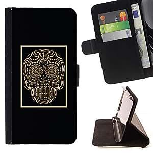 Momo Phone Case / Flip Funda de Cuero Case Cover - Oro Negro del cráneo poster Bling floral - Huawei Ascend P8 (Not for P8 Lite)