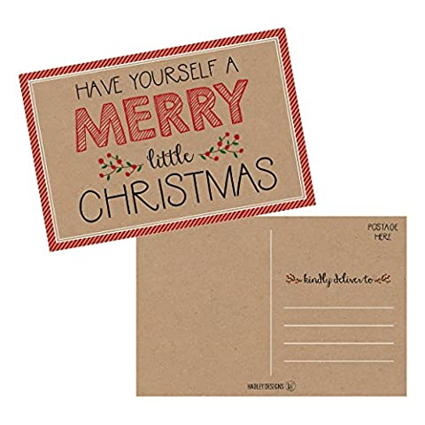 50 Kraft Holiday Greeting Cards, Cute Fancy Blank Winter Christmas Postcard Set, Bulk Pack of Premium Seasons Greetings Note, Happy New Years Cards for Kids, Business Office or Church Thank You - Christmas Design Pack