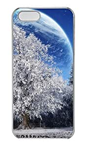 iPhone 5 5S Case, Personalized Protective Hard PC Clear Durable Case Cover for iPhone 5 5S Christmas Moon