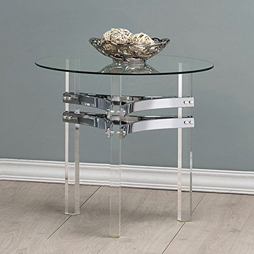 Coaster Round Glass Table Chrome
