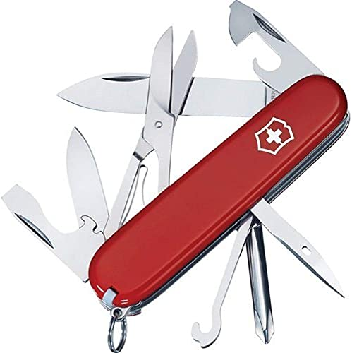 Victorinox Swiss Army Super Tinker Knife with 14 Functions and Leather Clip Pouch