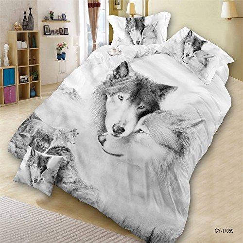 LightInTheBox Bedding 4 Piece 3D Print Wolf Duvet Cover Set with 2 Pillow Shams,1 Flat Sheet, 1 Duvet Cover, White