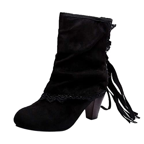 Botines tacón cuña Ancho para Mujer Otoño Invierno 2018 Moda PAOLIAN Botas Militares Negro Zapatos con