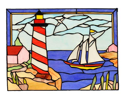 Lighthouse and Sailboat Stained ()