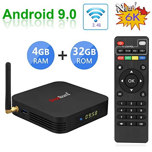 Greatlizard TX6 Android 9.0 Smart TV Box 4GB RAM 32GB ROM Quad Core 4K 6K HD Resolution 2.4G WiFi Set Top TV Box