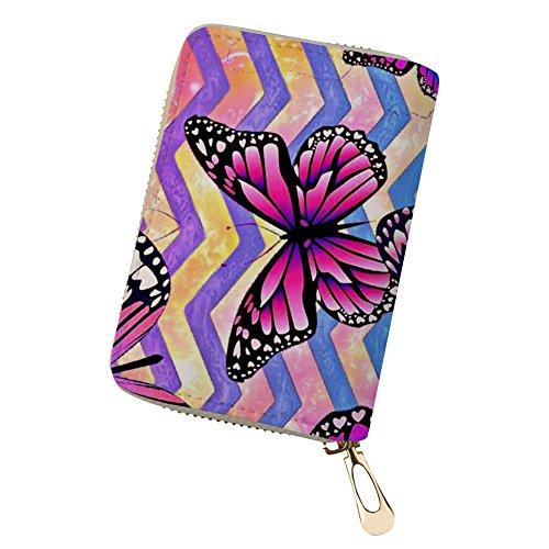 Leder Schmetterling Kreditkartenhüllen für Frauen Pink mit 18 Kartensteckplätzen Schmetterling 11
